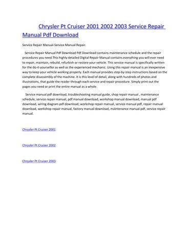 chrysler pt cruiser 2001 2002 2003 service manual repair pdf download