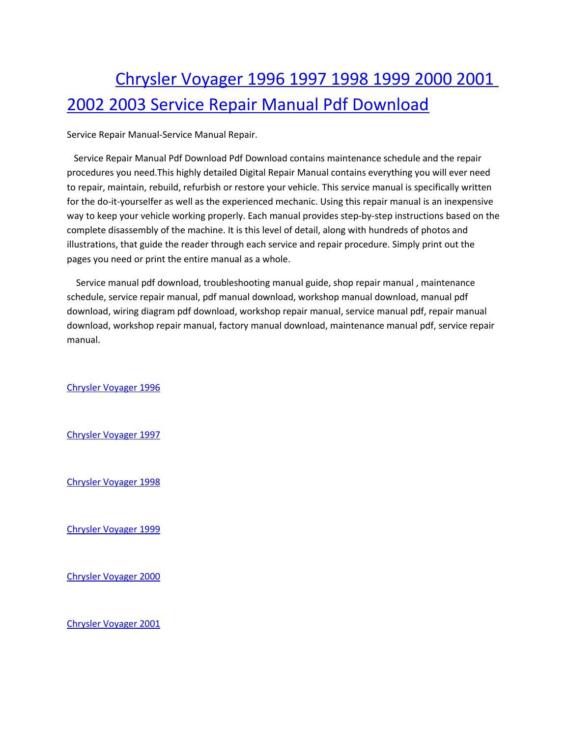 Chrysler voyager 1996 1997 1998 1999 2000 2001 2002 2003 service manual  repair pdf download by amurgului - issuu