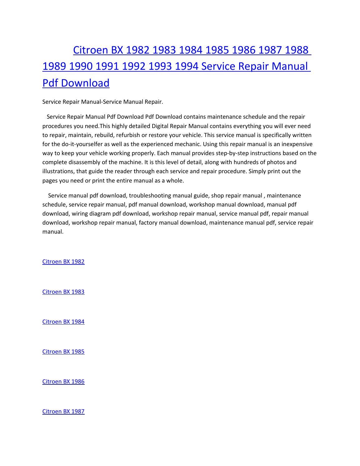 Manualguide Citroen Bx Service Manual Wiring Diagram 1982 1983 1984 1985 1986 1987 1988 1989 1990 1991 1992 Rh Issuu Com