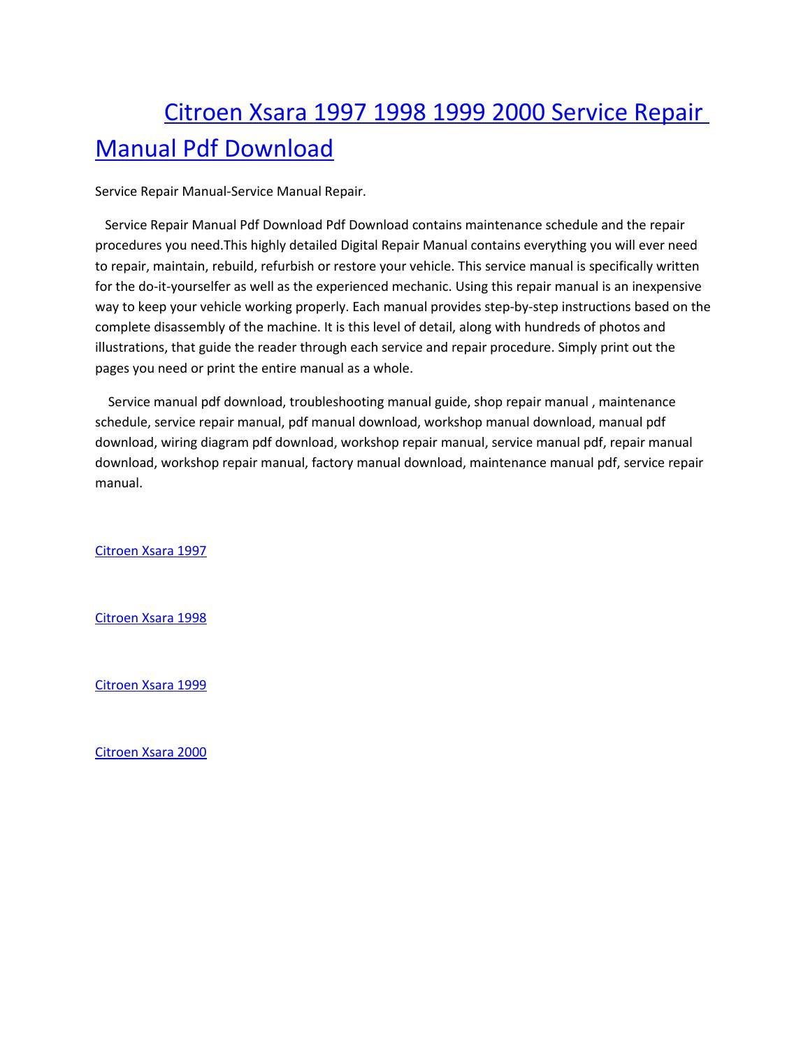 Citroen xsara 1997 1998 1999 2000 service manual repair pdf download by  amurgului - issuu