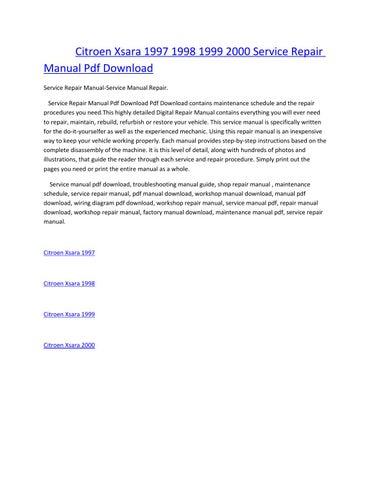 citroen xsara 1997 1998 1999 2000 service repair manual pdf download  service repair manual-service manual repair  service repair manual pdf  download pdf