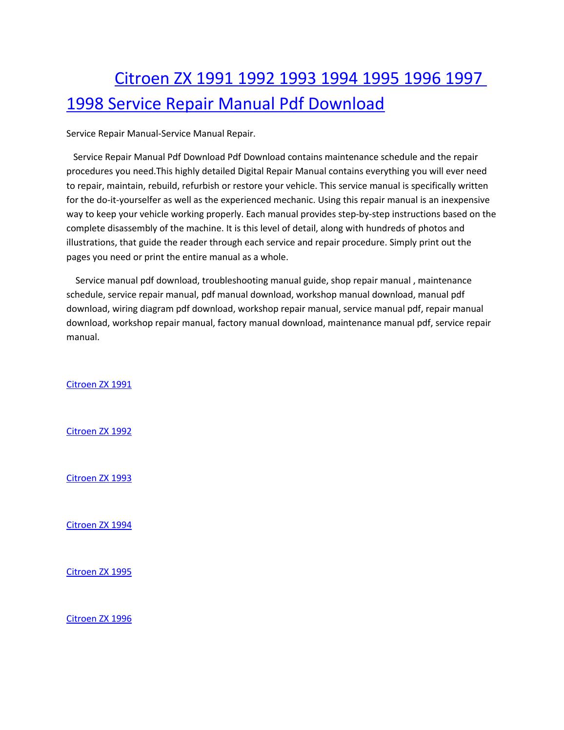 Citroen zx 1991 1992 1993 1994 1995 1996 1997 1998 service manual repair pdf  download by amurgului - issuu