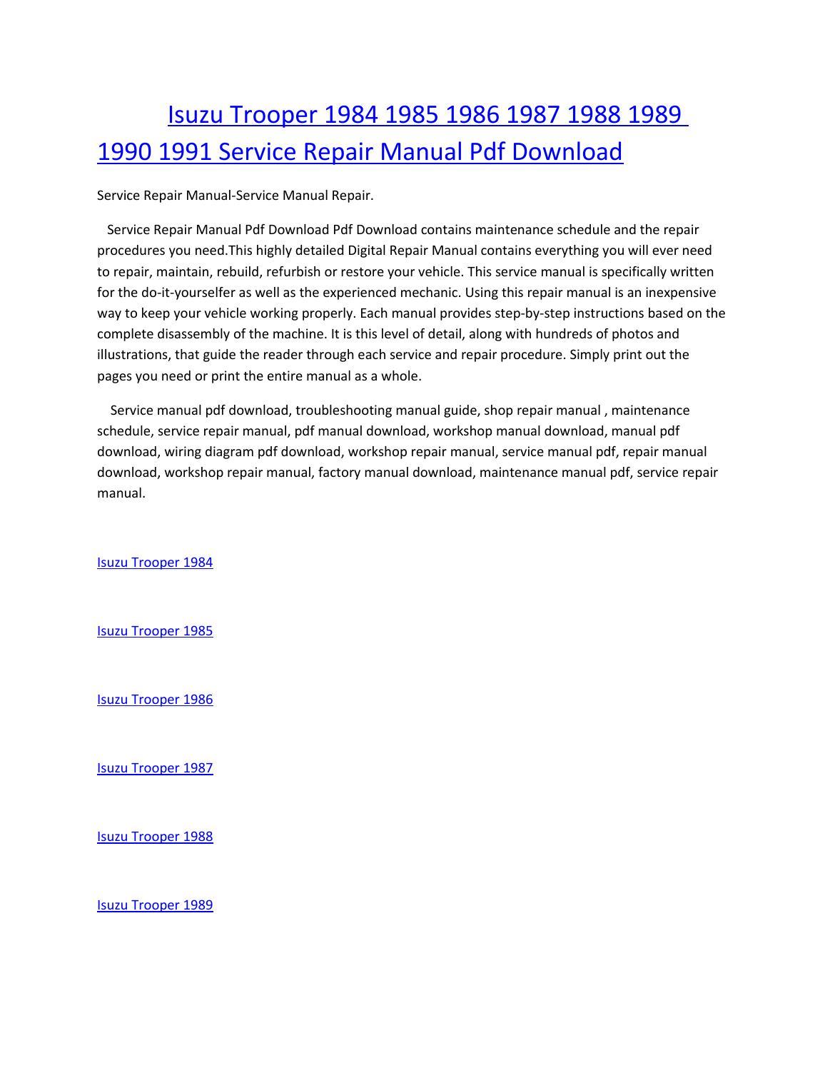 Isuzu trooper 1984 1985 1986 1987 1988 1989 1990 1991 service manual repair  pdf download by amurgului - issuu