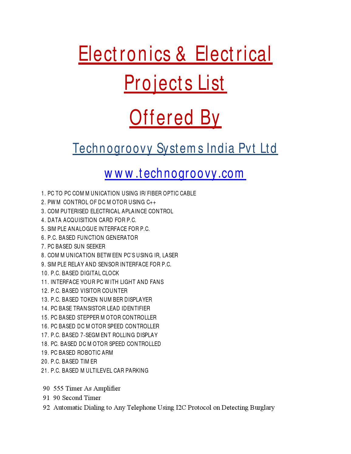 List Of Electronics Projects Ece By Technogroovy Water Sensor Circuit Using 555 Timer Systems Issuu