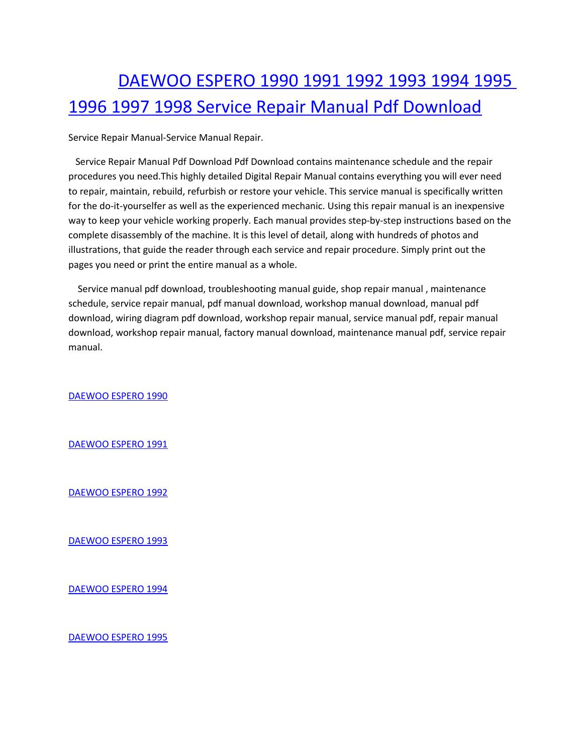 Daewoo espero 1990 1991 1992 1993 1994 1995 1996 1997 1998 service manual  repair pdf download by amurgului - issuu