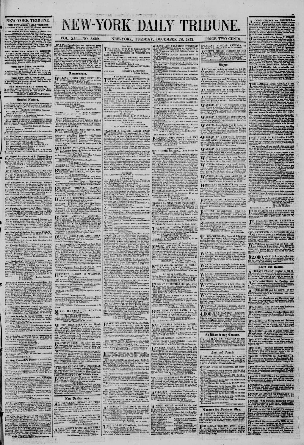 New York Tribune 3650 28 December 1852 By Derosnec Issuu