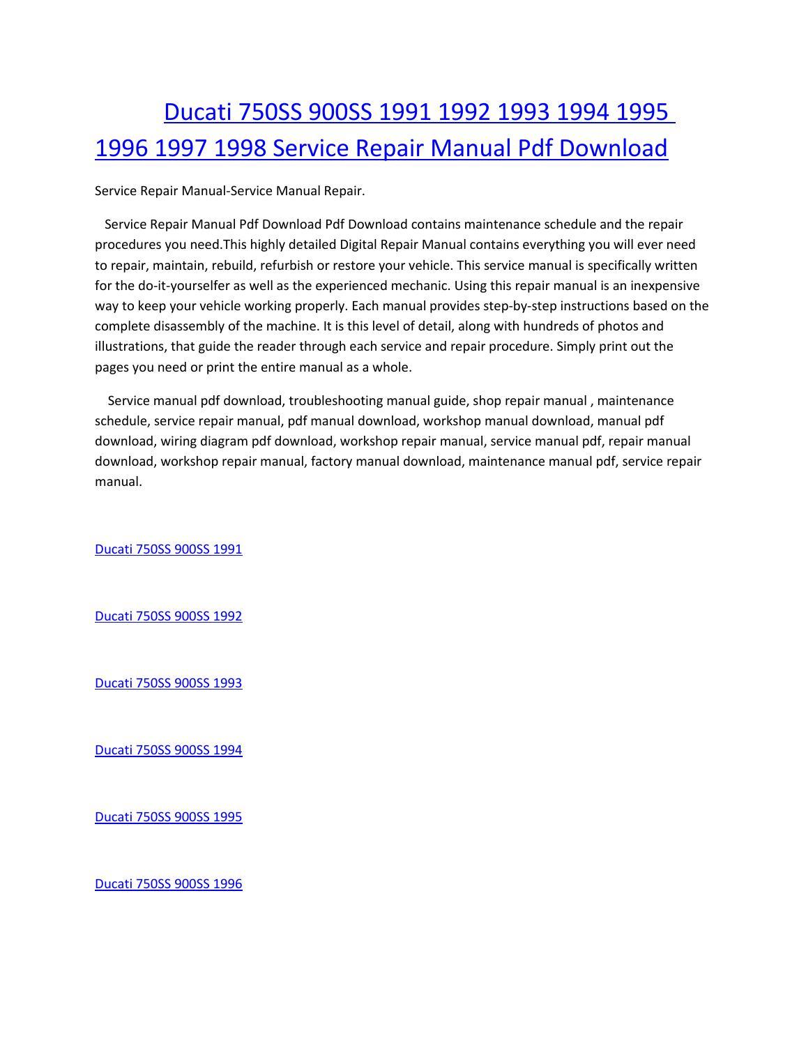 ducati 750ss 900ss 1991 1992 1993 1994 1995 1996 1997 1998 service manual  repair pdf download