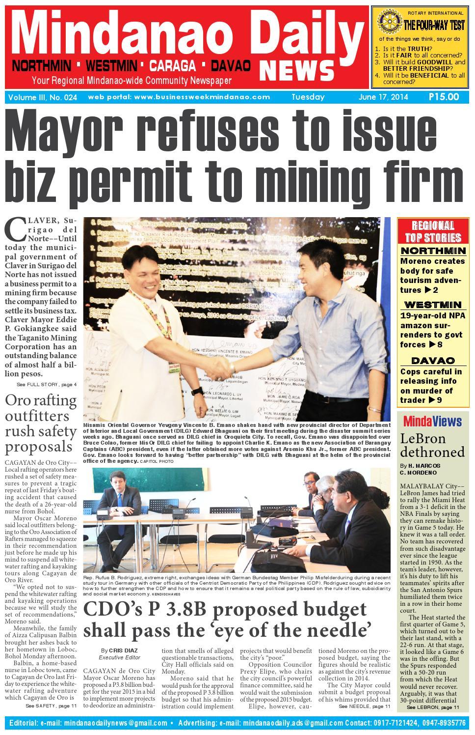 Mindanao Daily Caraga (June 17, 2014) by Mindanao Daily News