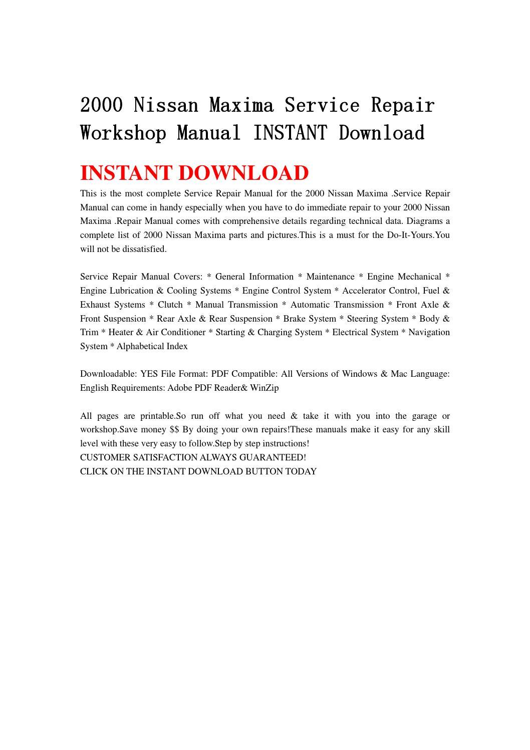 2000 nissan maxima service repair workshop manual instant download by  ysgebf - issuu