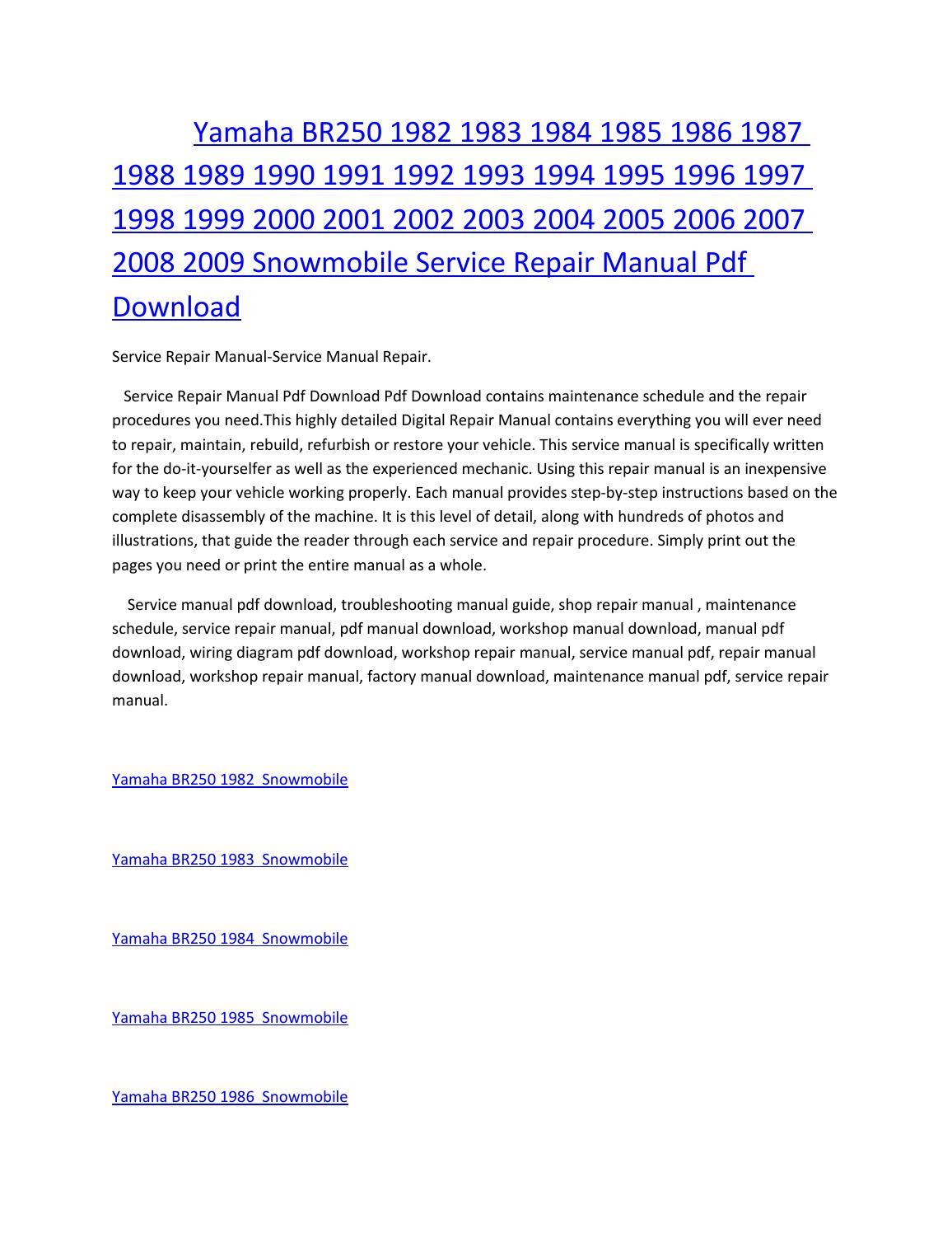 yamaha br250 2009 repair service manual