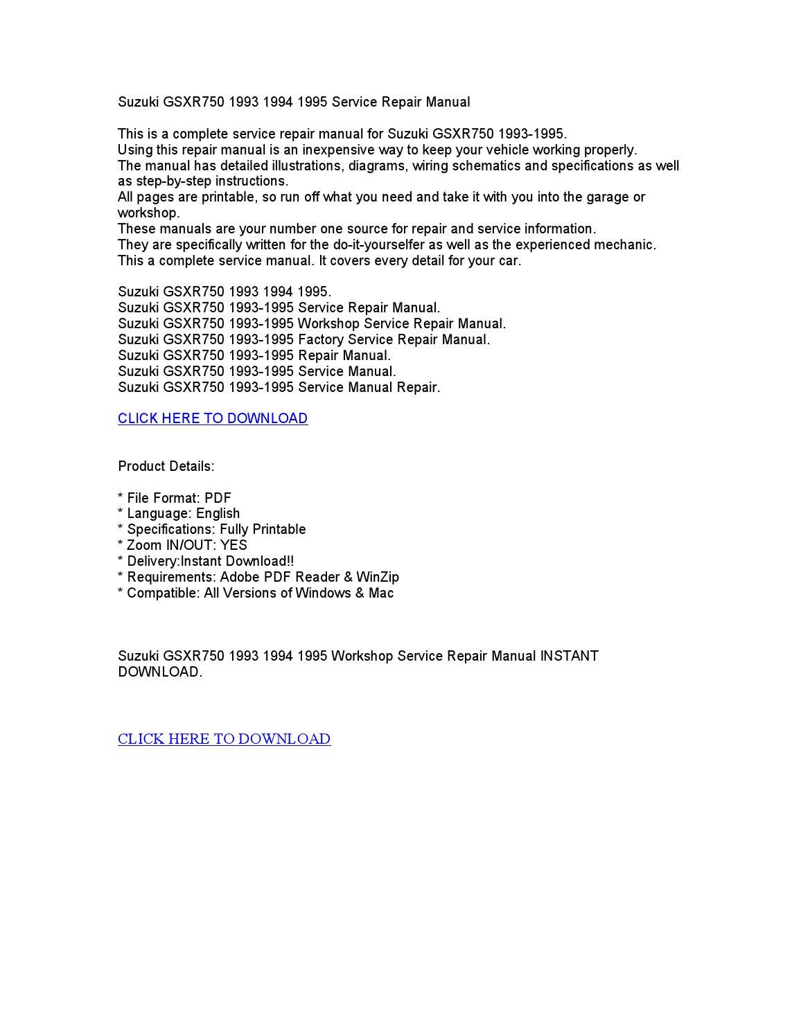 gsxr 750 service manual pdf