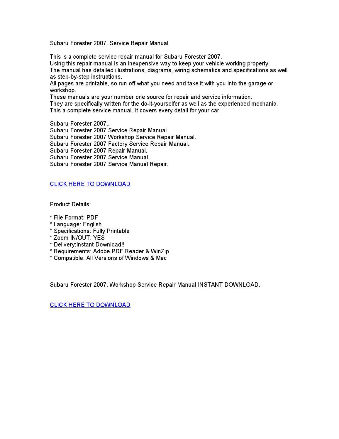 2007 subaru forester workshop service repair manual by. Black Bedroom Furniture Sets. Home Design Ideas