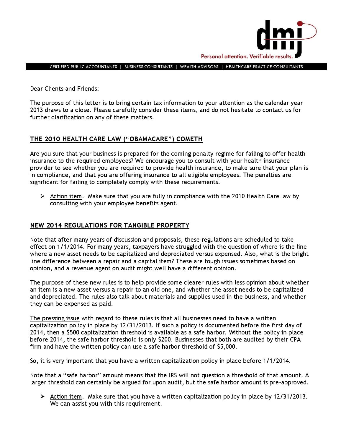 Tax 2013 administrative 2013 business year end letter ...