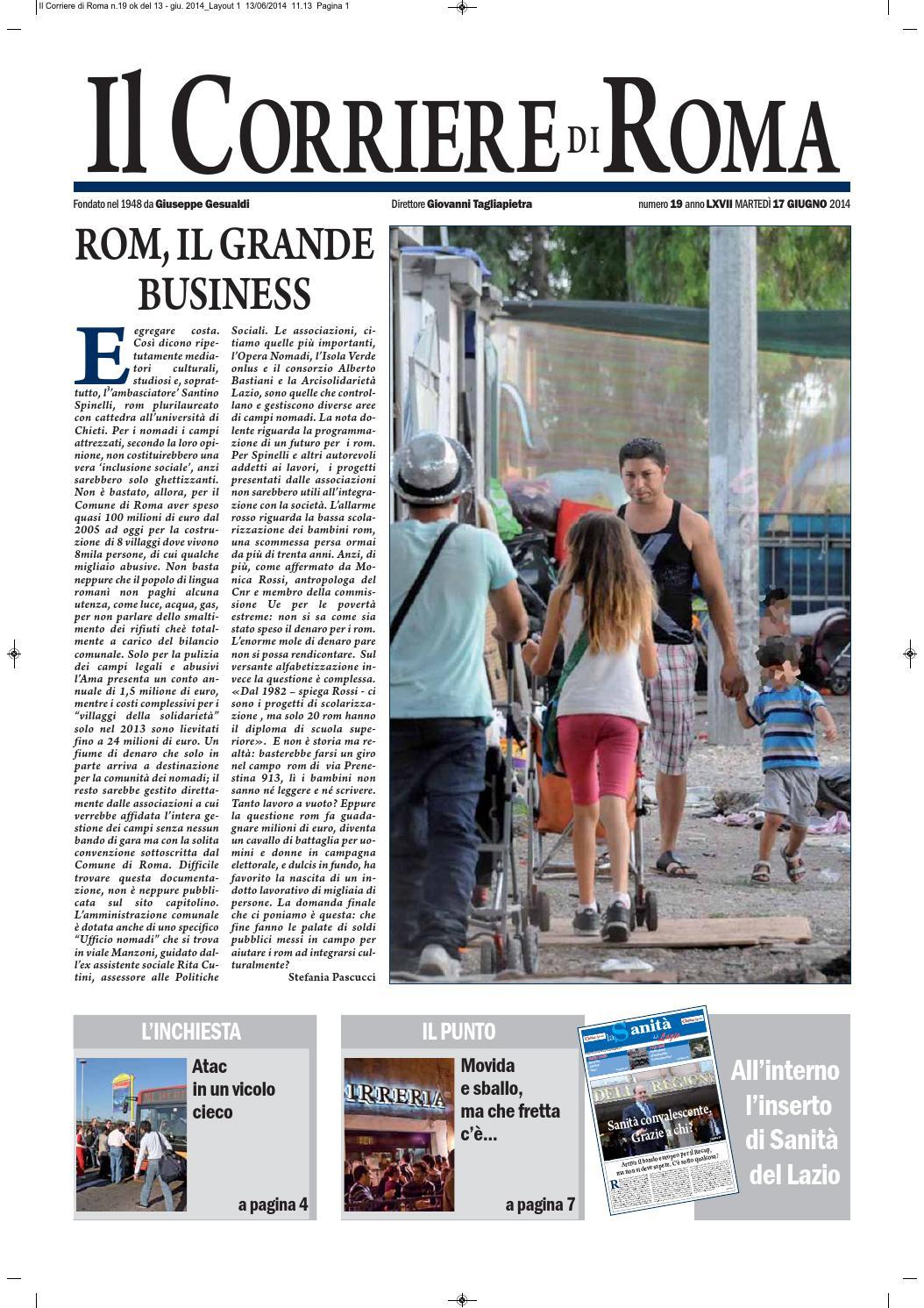 IL CORRIERE DI ROMA MARTEDI 17 GIUGNO 2014 By Il Corriere Di Roma