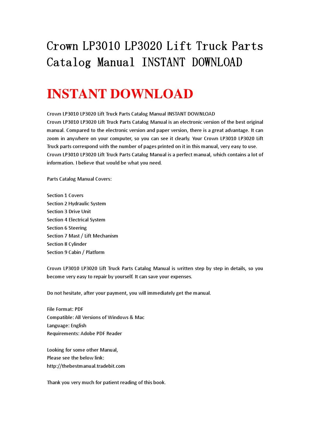 Crown lp3010 lp3020 lift truck parts catalog manual instant download by  jhhsnenf - issuu