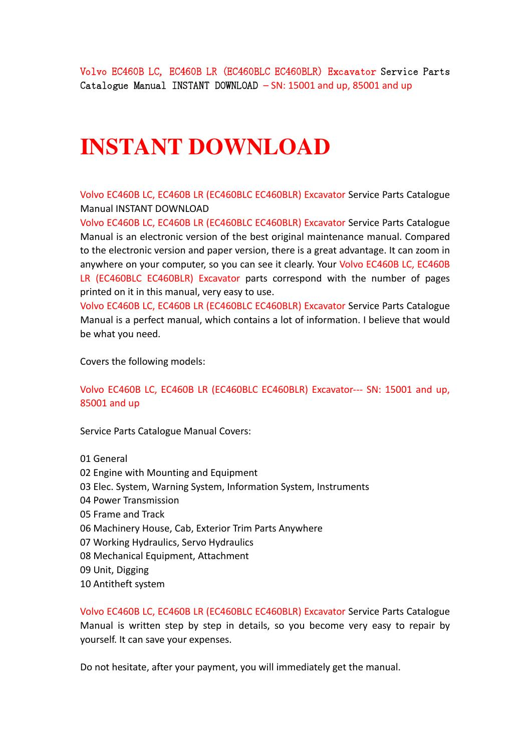 Volvo ec460b lc, ec460b lr (ec460blc ec460blr) excavator service parts  catalogue manual instant down by yhsegfbh - issuu
