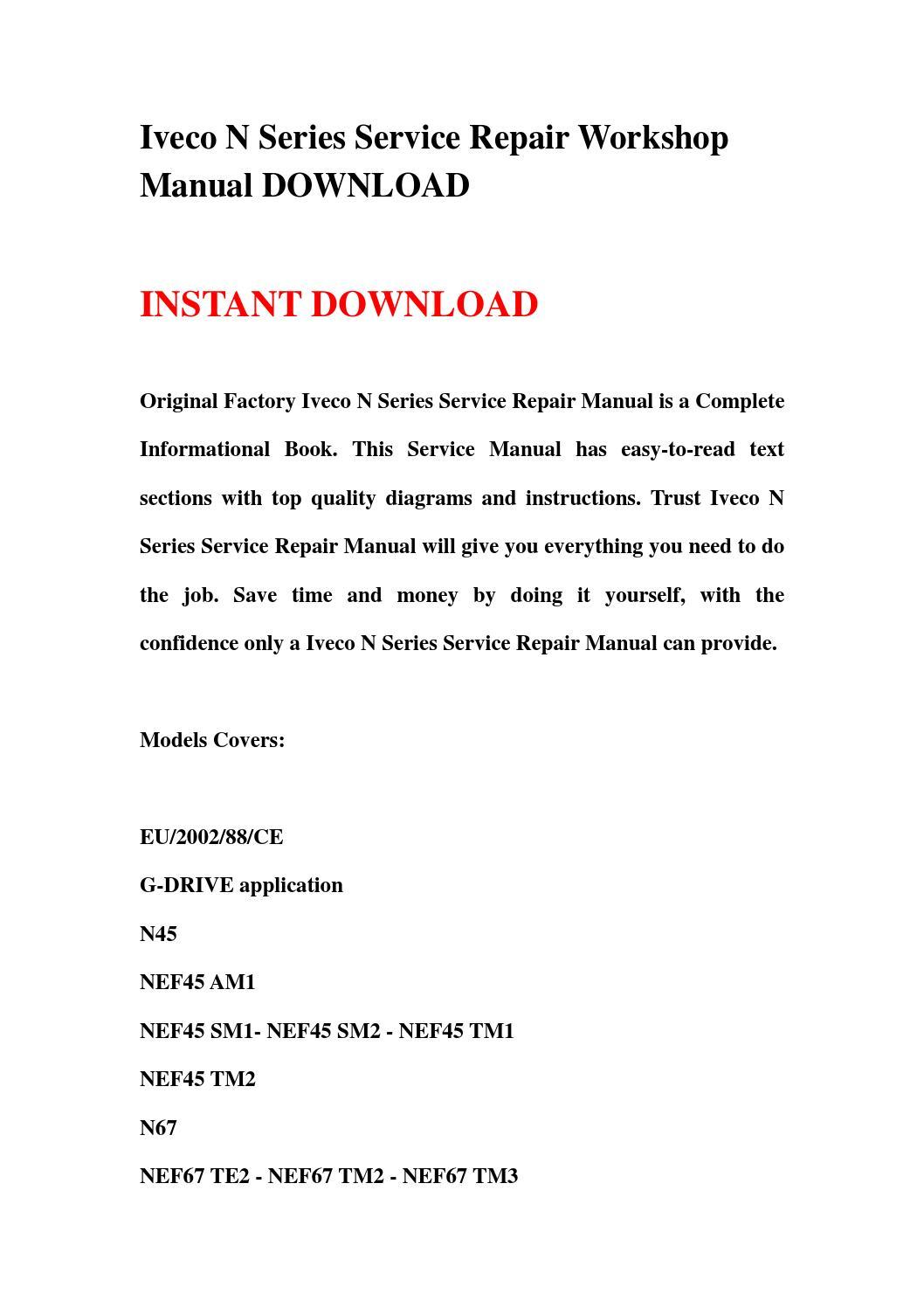 Iveco N Series Service Repair Workshop Manual Download By