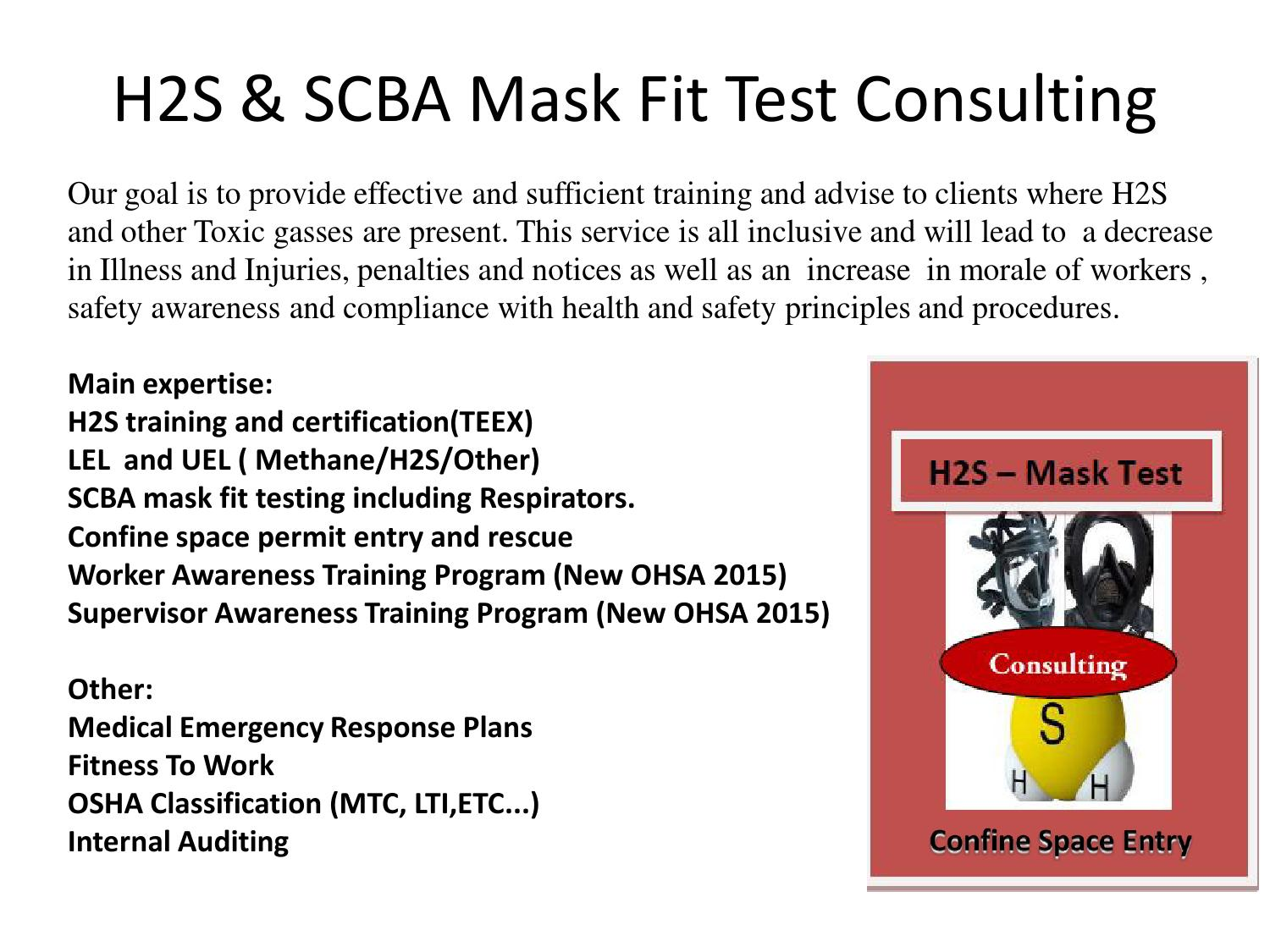 H2s Scba Mask Fit Test Consulting By Josias Montgomery Issuu