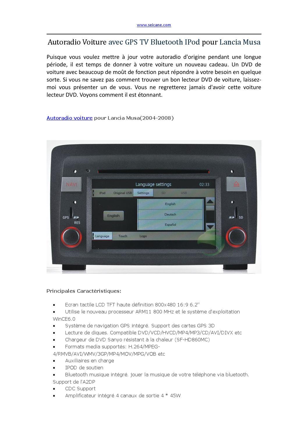 autoradio voiture avec gps tv bluetooth ipod pour lancia musa by baaron290 issuu. Black Bedroom Furniture Sets. Home Design Ideas