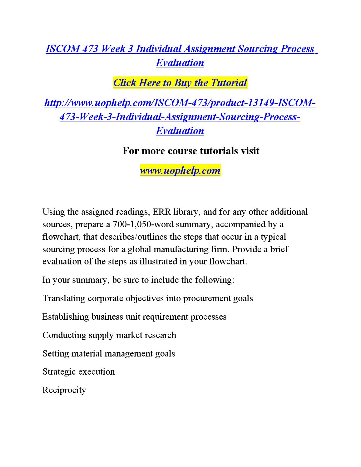 ISCOM/471 ISCOM471 ISCOM 471 Week 4 Individual Assignment Company Research Outline