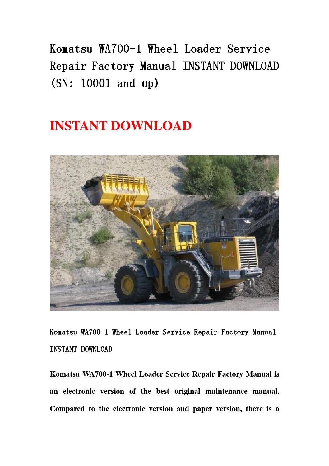 komatsu wa700 1 wheel loader service repair factory manual. Black Bedroom Furniture Sets. Home Design Ideas