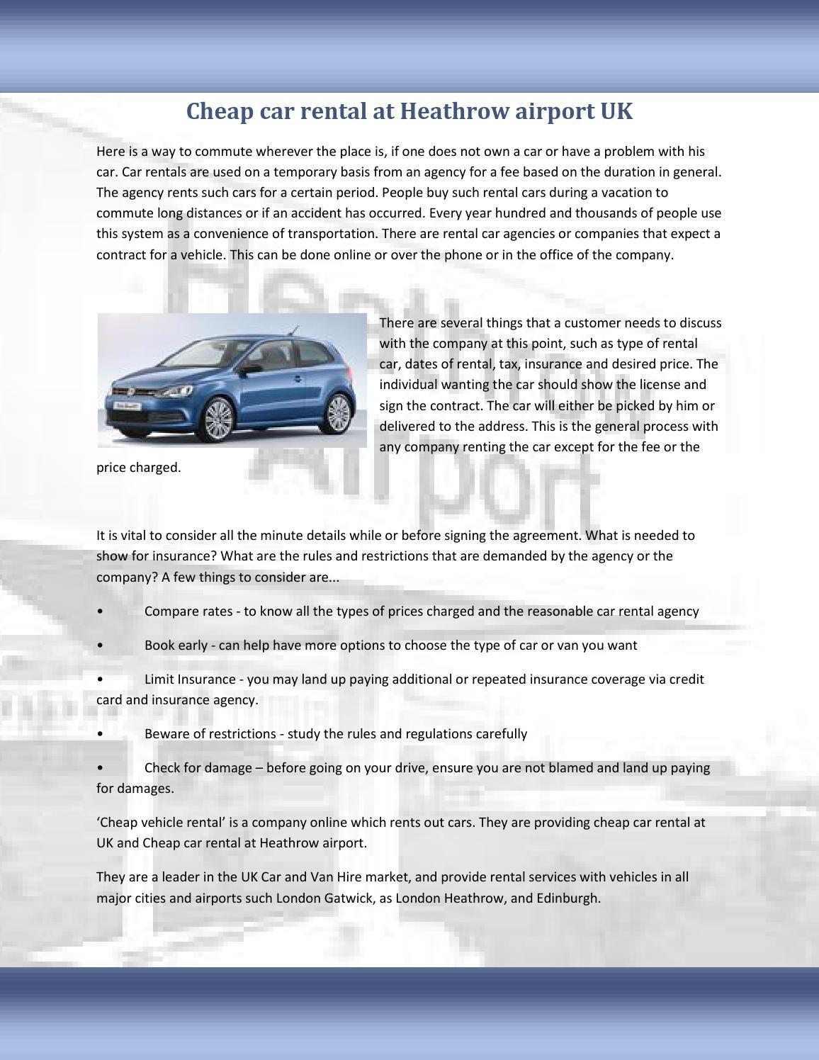 Cheap Car Rental At Heathrow Airport London Uk By Cheap Vehicle