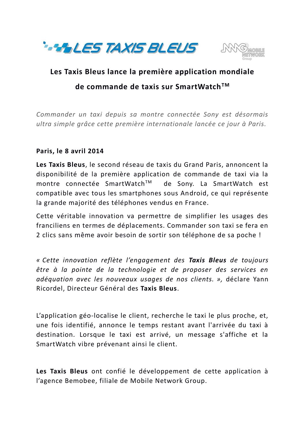 lancement de l 39 application taxis bleus sur smartwatch de sony by taxis bleus issuu. Black Bedroom Furniture Sets. Home Design Ideas