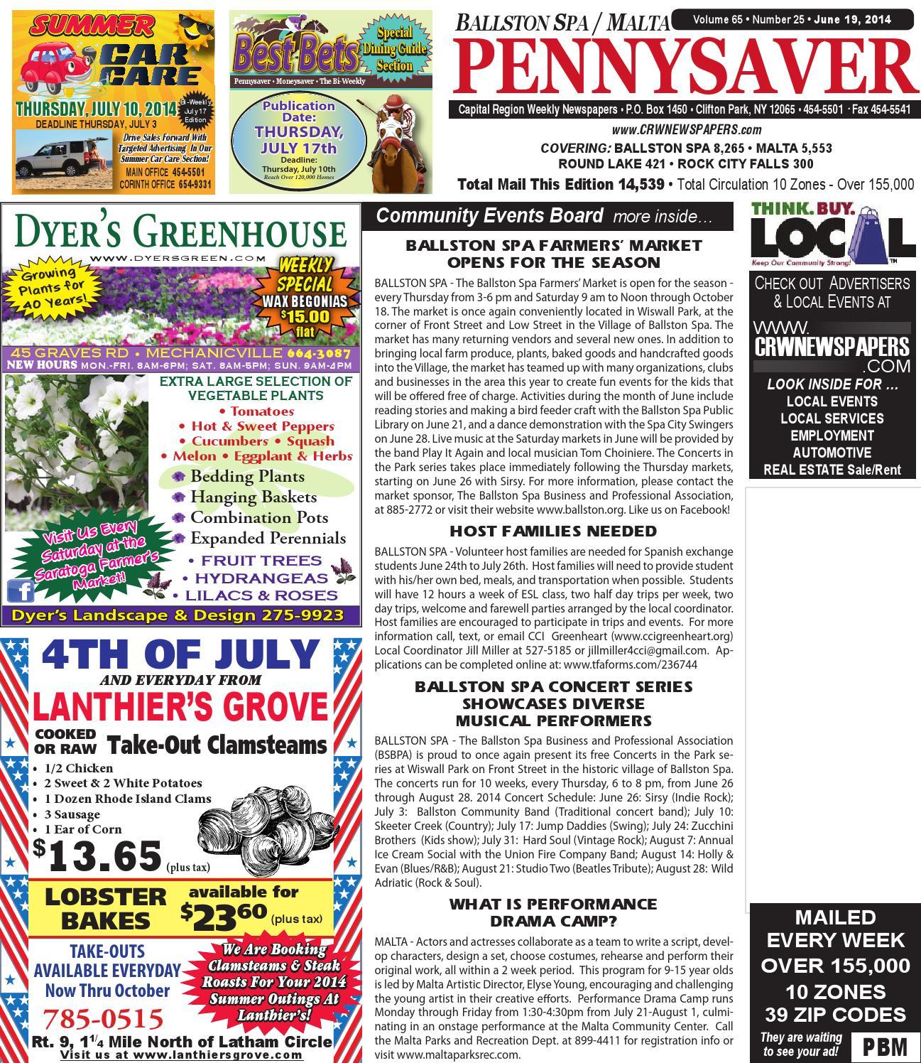 Ballston Spa Malta Pennysaver 061914 By Capital Region Weekly