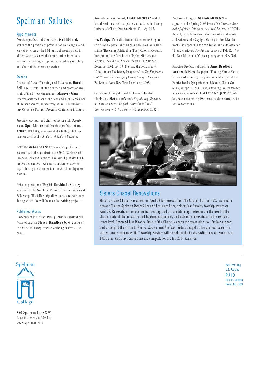 Summer 2003 by Spelman College - issuu