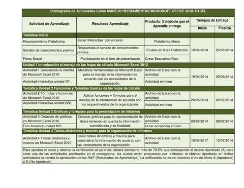 cronograma de actividades curso manejo herramientas microsoft office 2010 excel