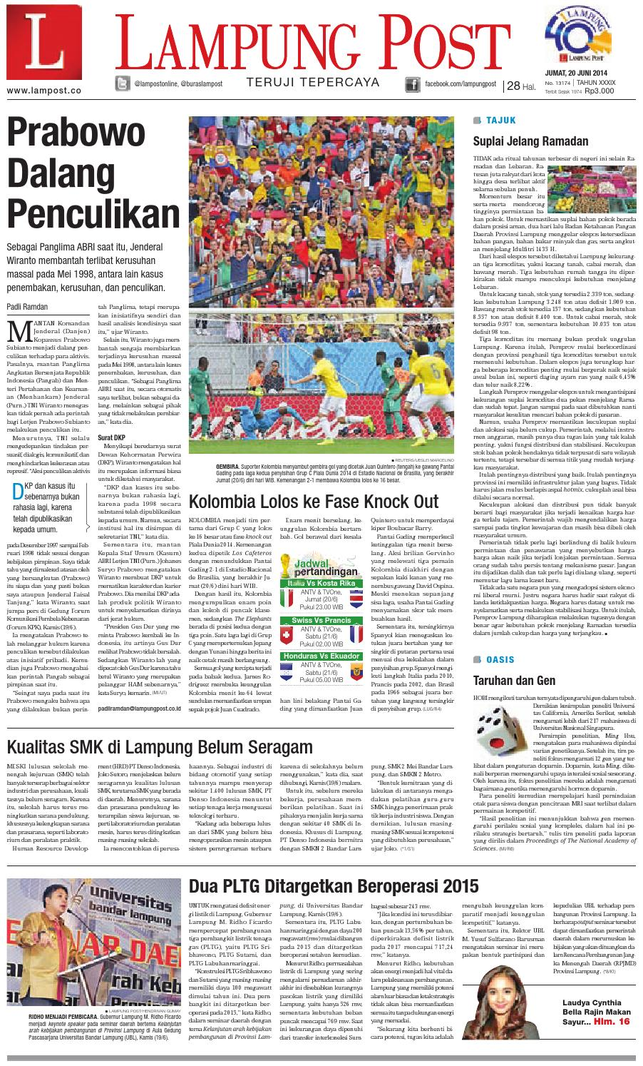 Lampungpost edisi 20 juni 2014 by Dorizo Hermawan - issuu b5e79ccfb9