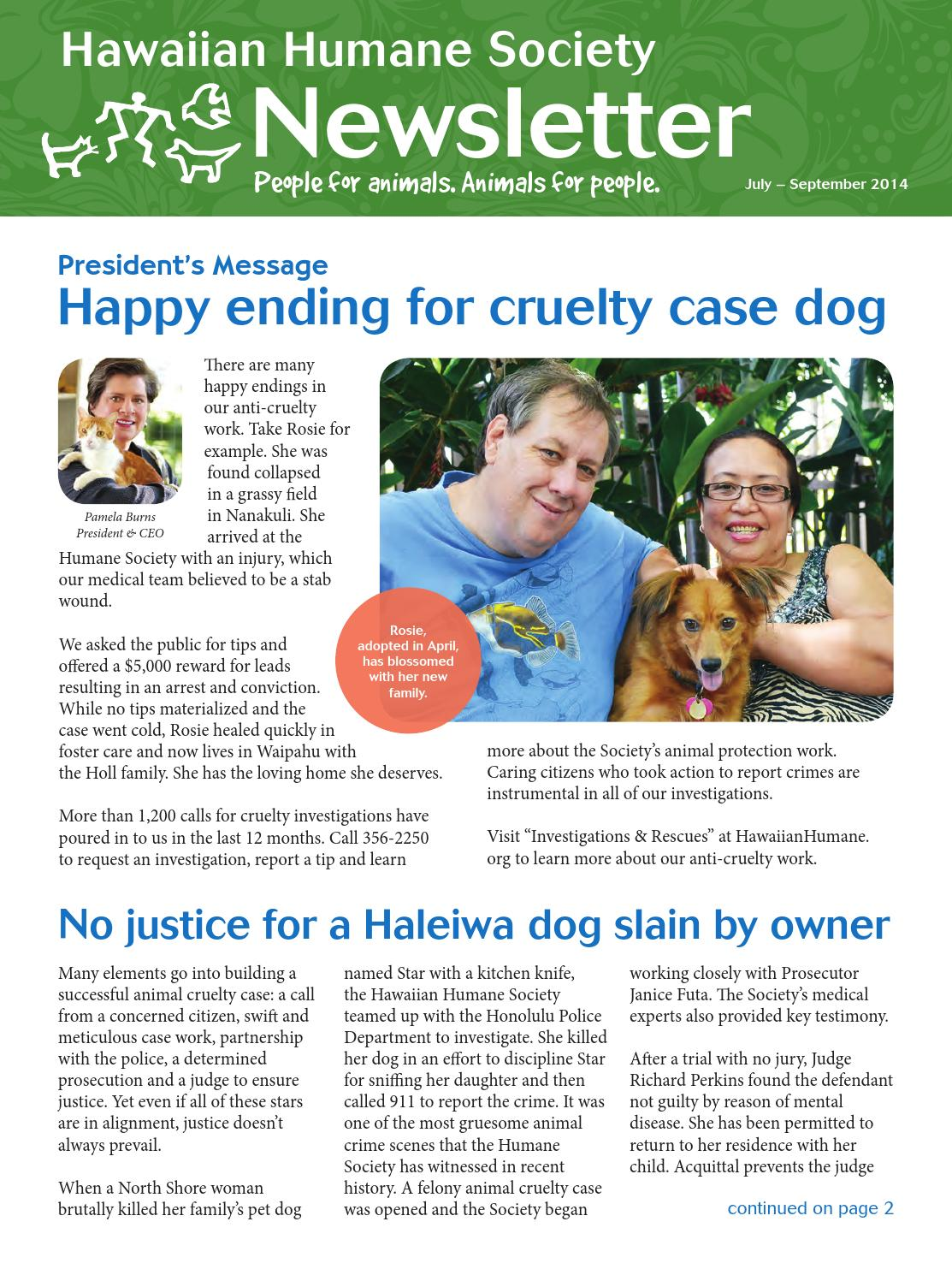 HHS July 2014 newsletter by Hawaiian Humane - issuu