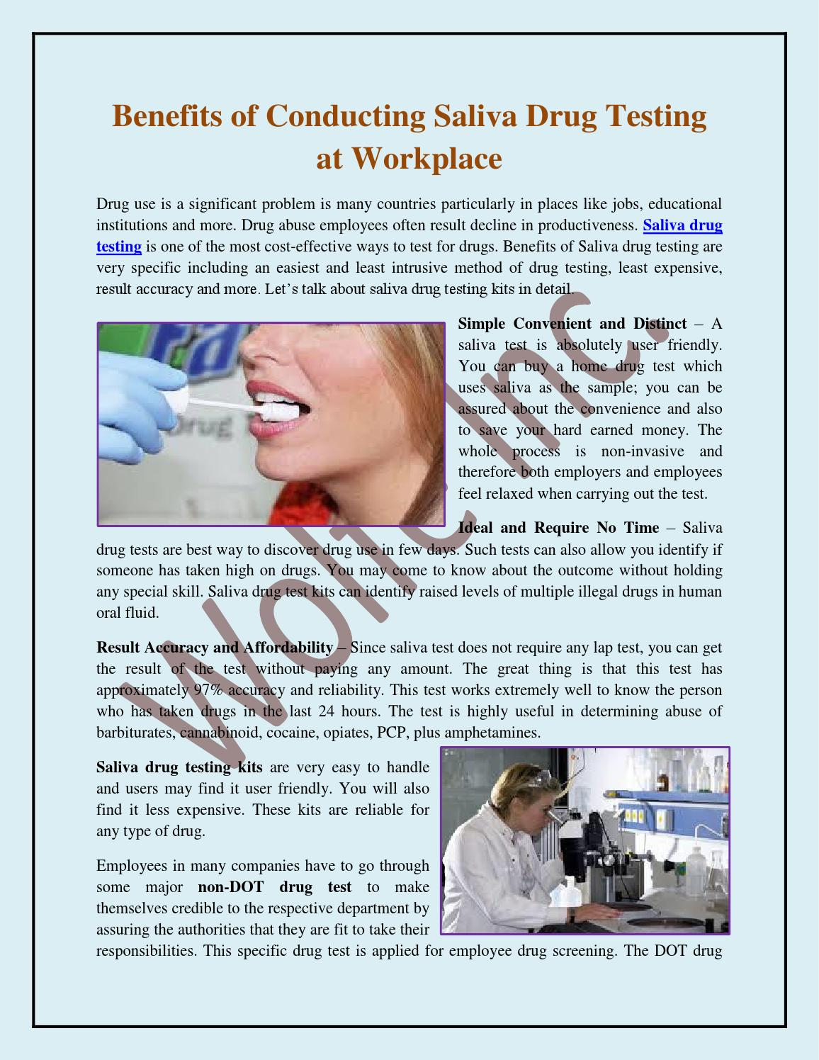 the importance and benefits of drug testing at the workplace Random drug testing random drug testing lets an employer select, using a random selection process, one or more individuals from all of the employees included in the employer's workplace drug testing pool to drug test.
