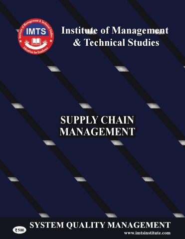IMTS SQM (Supply chain management) by IMTS INSTITUTE - issuu