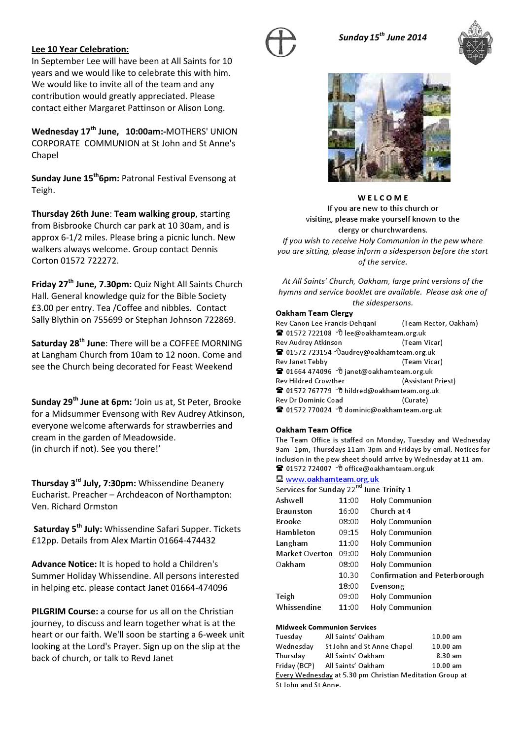 Pewsheet - 15 June 2014 (Whissendine) by Oakham Team Ministry - issuu