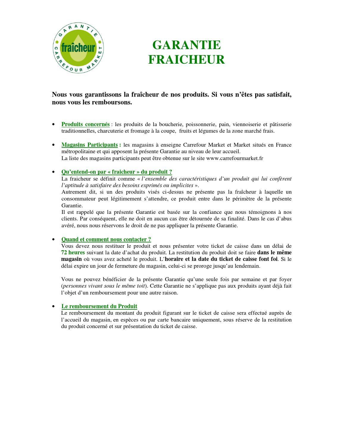 Carte Carrefour Ticket De Caisse.Garantie Fraicheur Carrefour Market By Anti Crise Fr Issuu