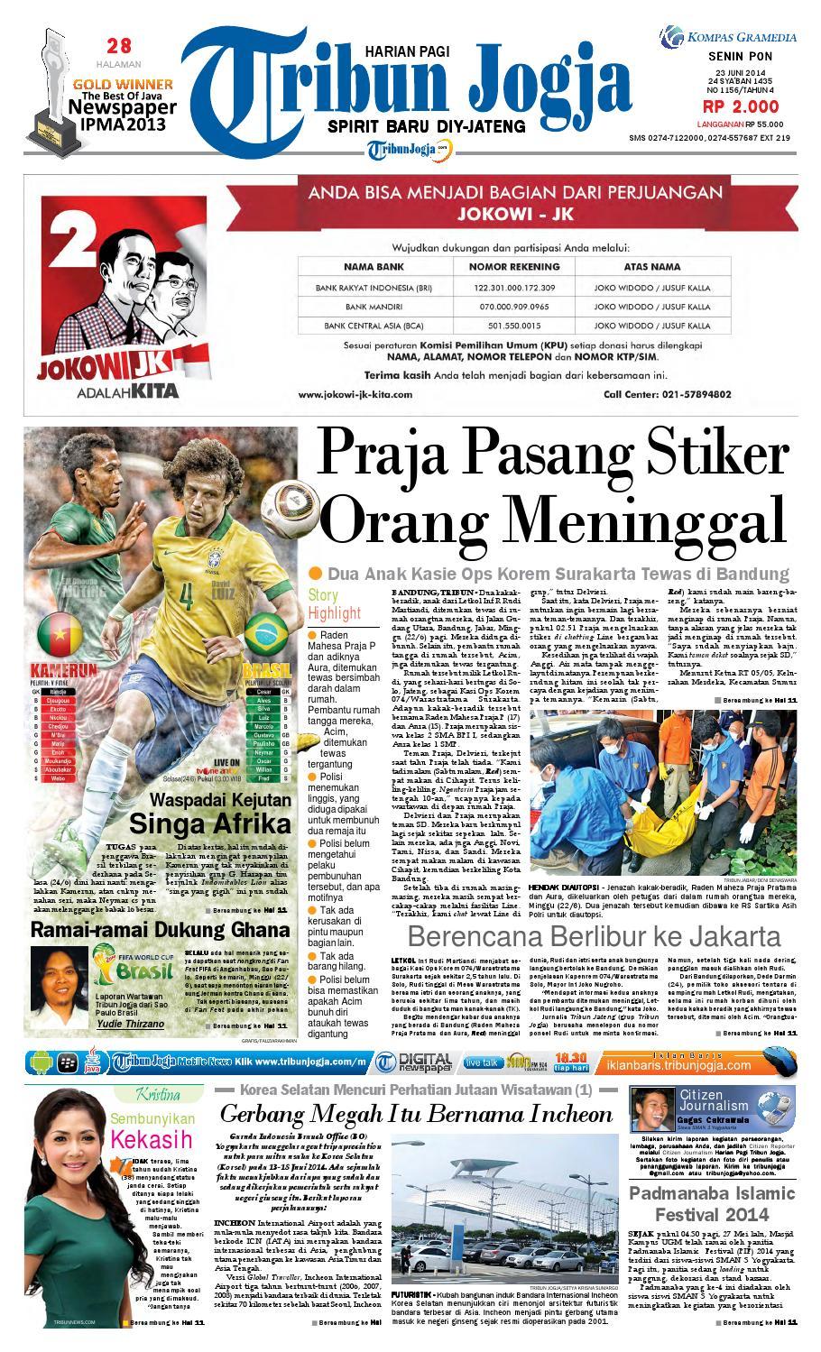 Tribunjogja 23 06 2014 By Tribun Jogja Issuu Produk Ukm Bumn Wisata Mewah Bali 3hr 2mlm