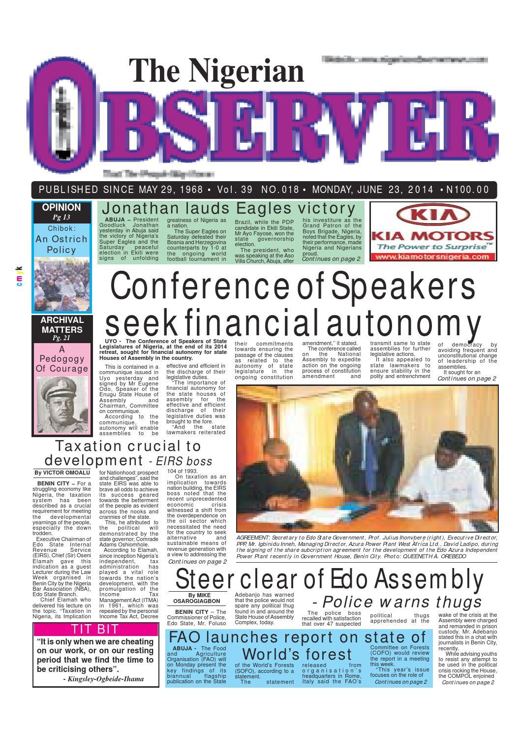 Nigerian Observer 23 06 2014 By Nigerian Observer Issuu