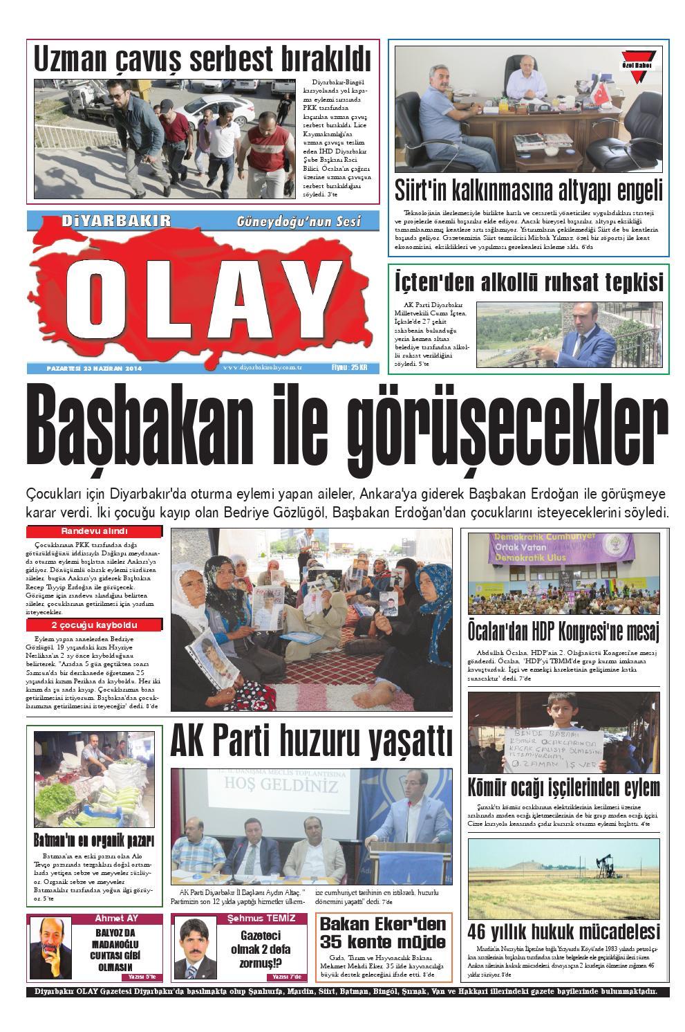 23 06 2014 Gazete Sayfalari By Diyarbakir Olaygazetesi Issuu