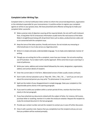 Complaint letter writing tips by sample letters issuu complaint letter writing tips complaint letter is a formal notification letter written to inform the concerned department organization or the individual expocarfo