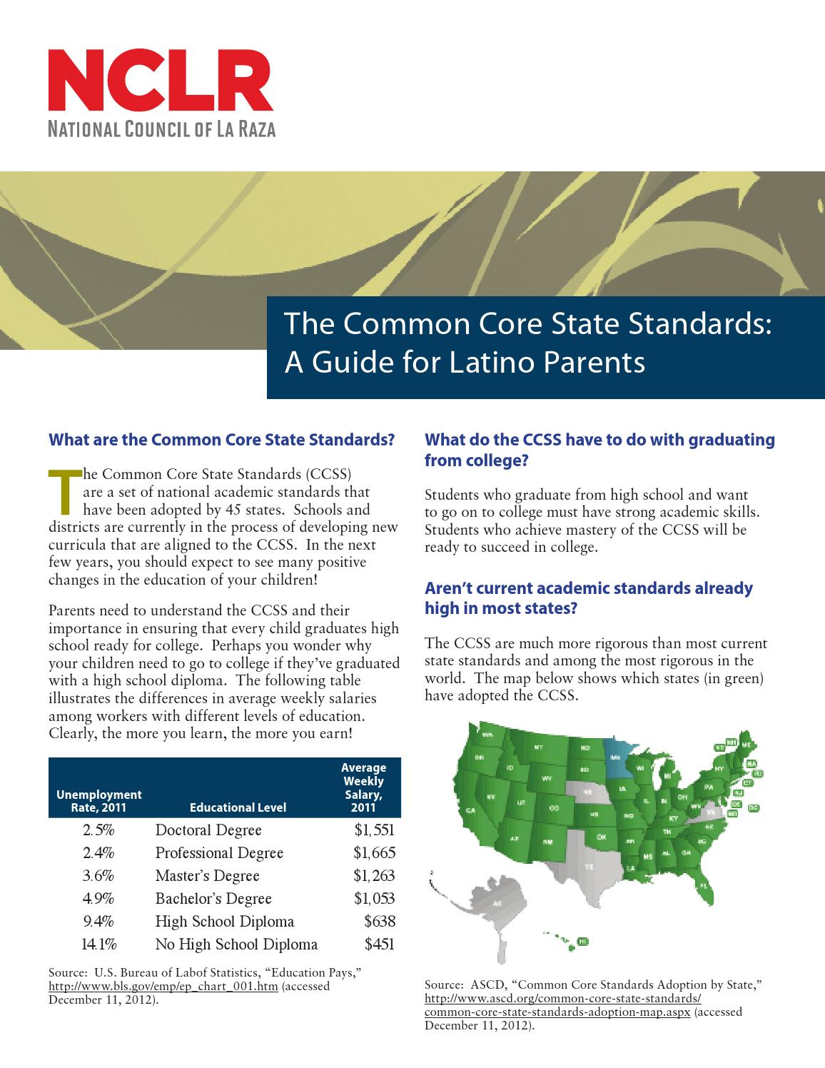 The Common Core State Standards A Guide For Latino Parents By