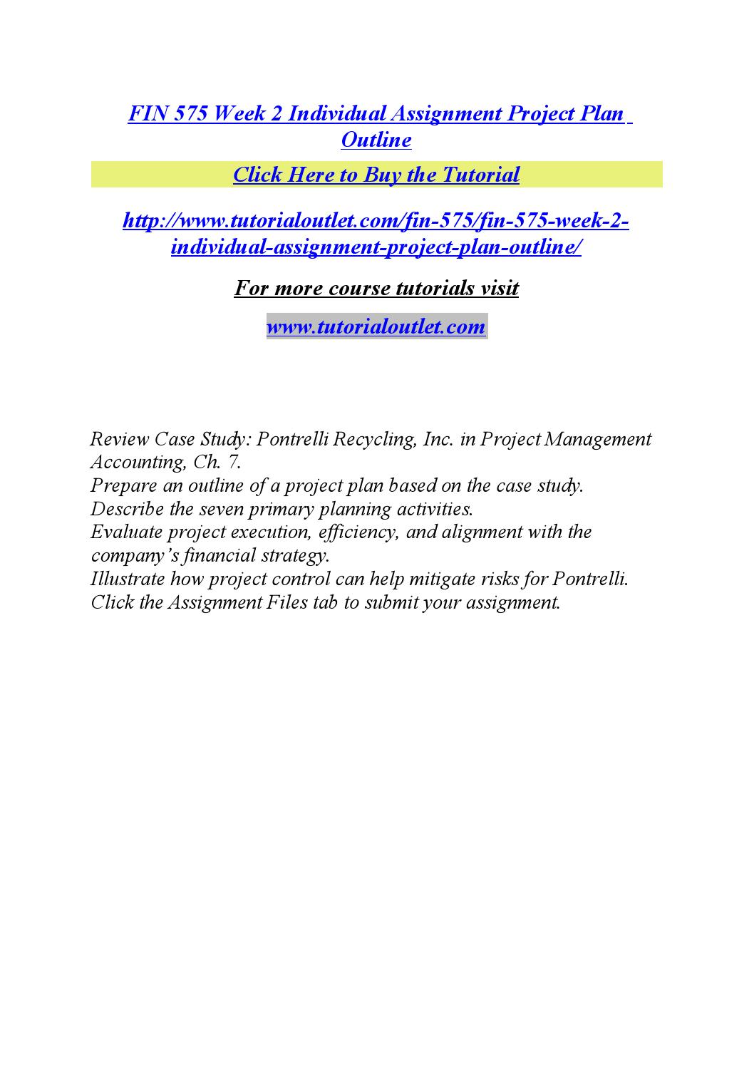 pontrelli recycling inc case study Fin 575 week 2 project plan outline review case study: pontrelli recycling, inc in project management accounting, ch 7.