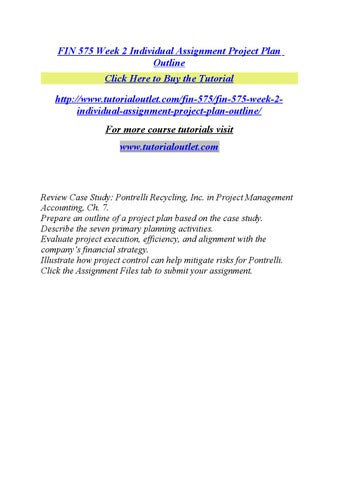 fin 575 week 2 individual assignment project plan outline by babyroy