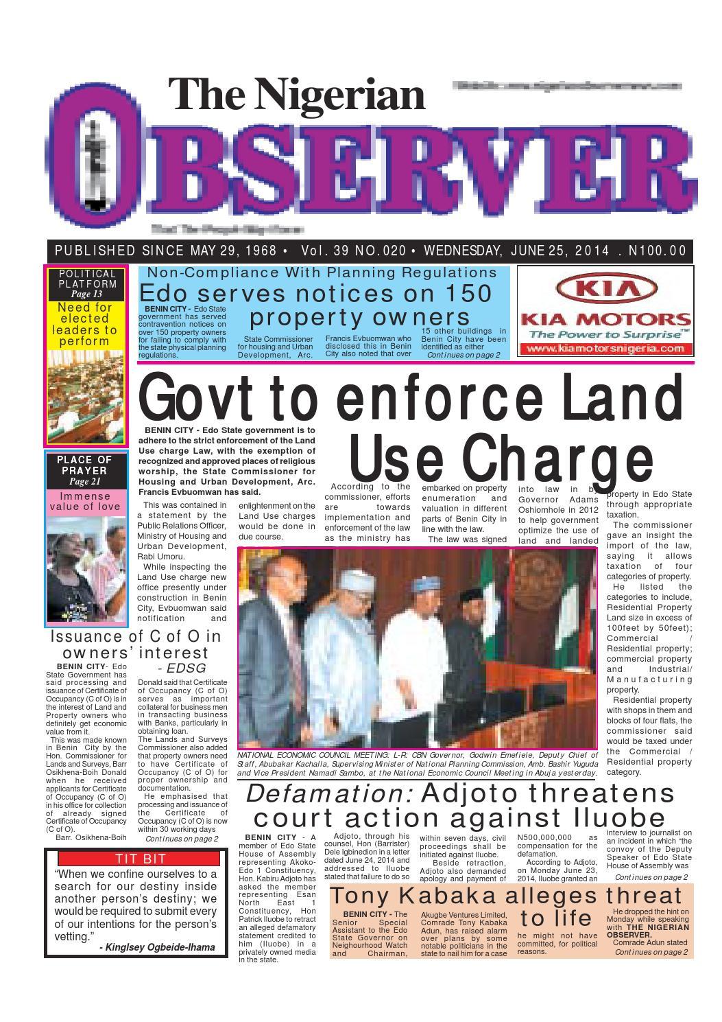 Nigerian observer 25 06 2014 by Nigerian Observer - issuu