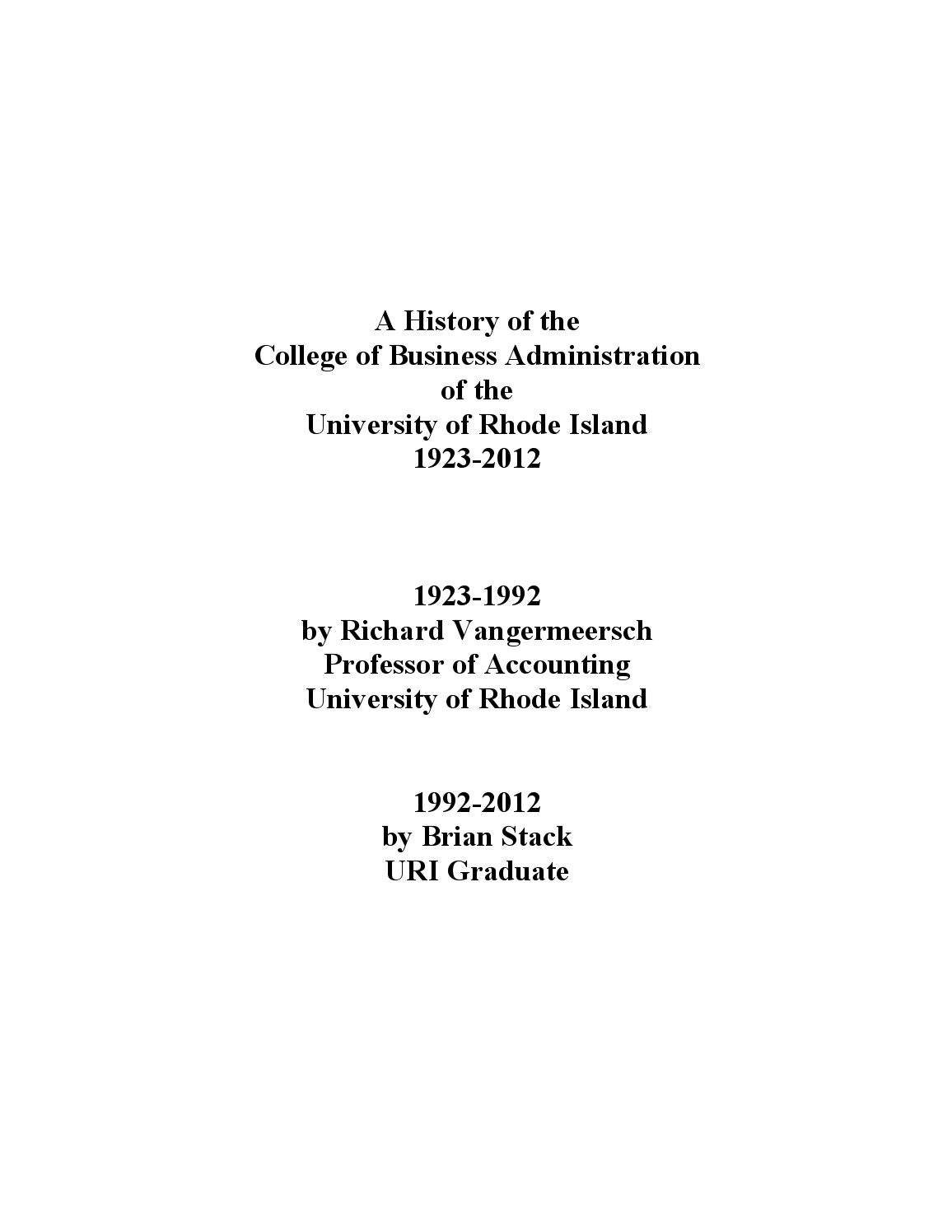 History of the University of Rhode Island College of Business ...