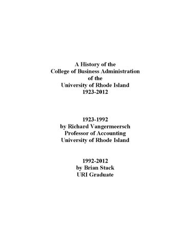 History Of The University Of Rhode Island College Of Business