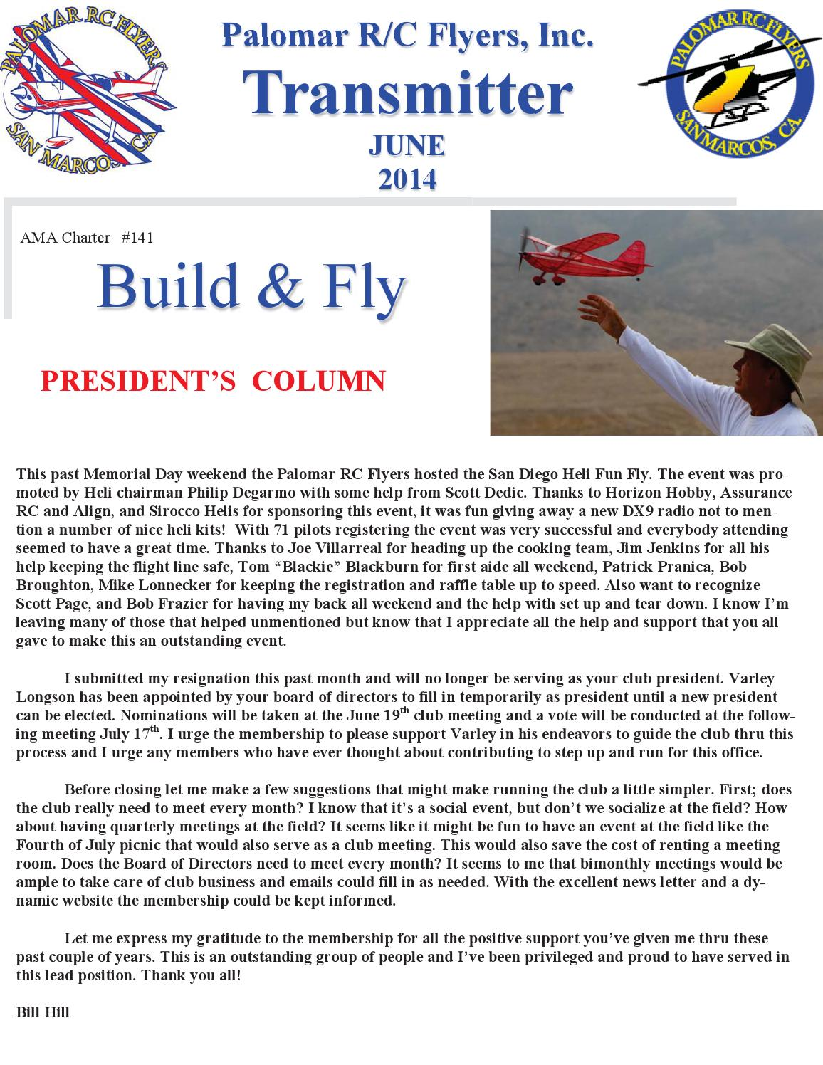Hobby Store San Diego >> Palomar RC Flyers Newsletter - June 2014 by ...