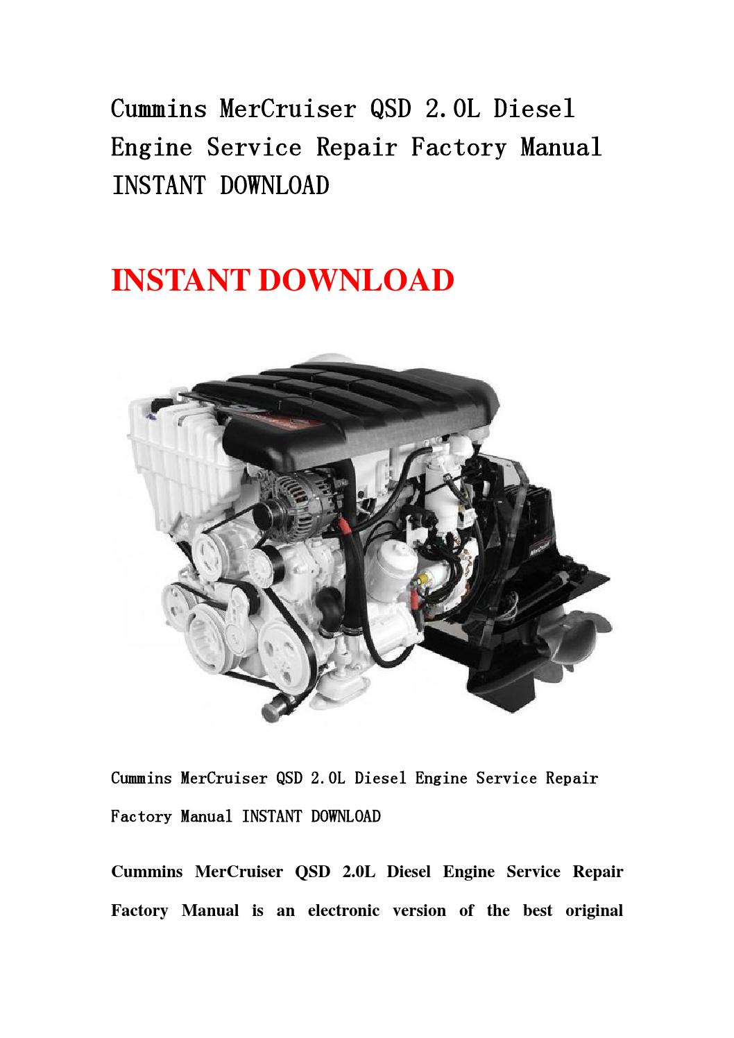 Cummins mercruiser qsd 2 0l diesel engine service repair factory manual  instant download by hgsbehn - issuu