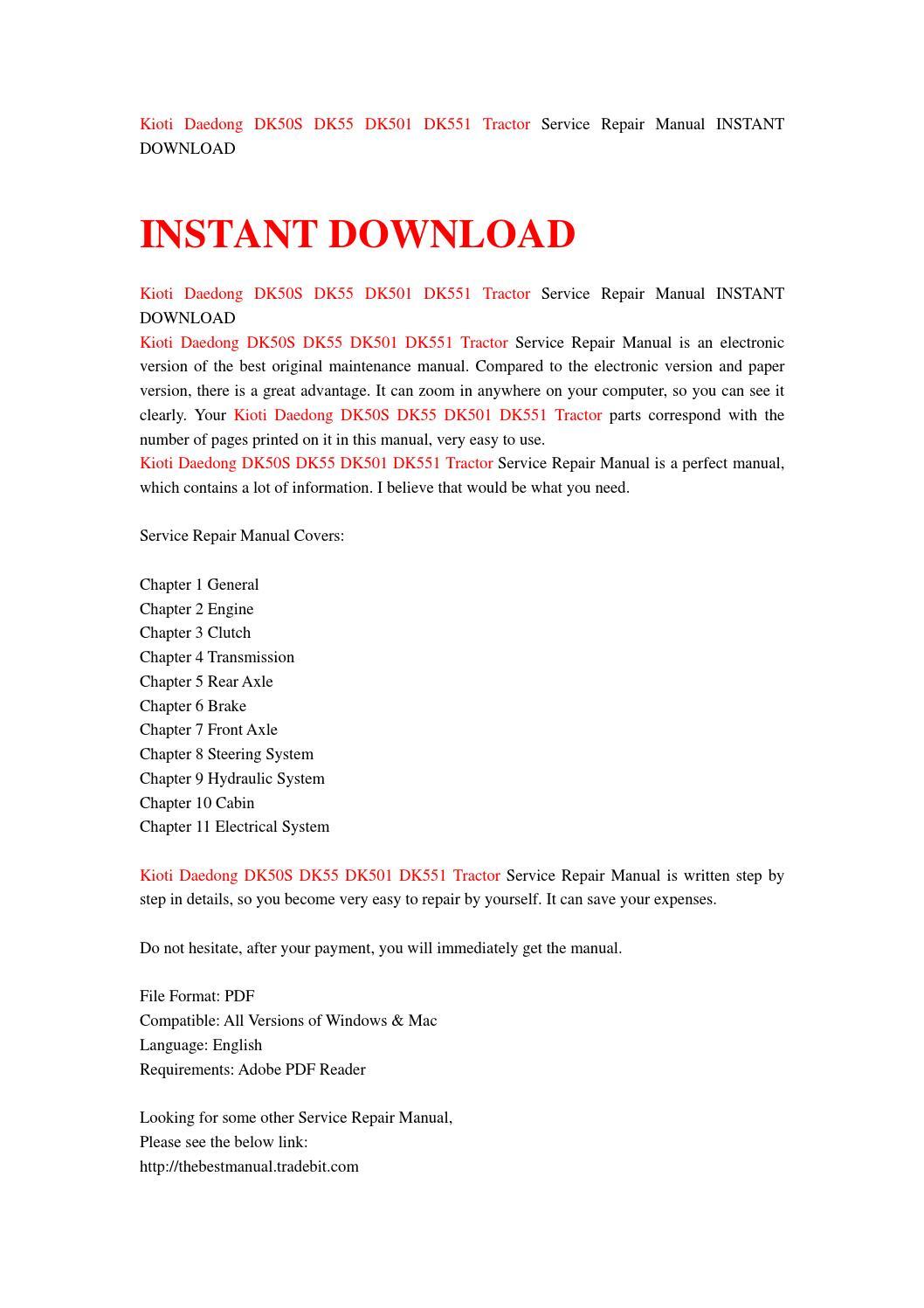 kioti daedong dk50s dk55 dk501 dk551 tractor workshop service repair manual 1 download