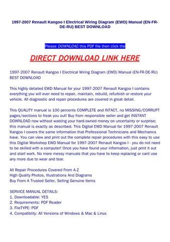 1997 2007 renault kangoo i electrical wiring diagram (ewd ...
